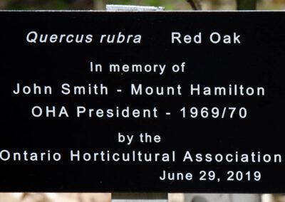 Plaque 2019 Tree Dedication for Past President John Smith 29Jun20
